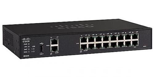 Router Cisco Gigabit Ethernet con Firewall RV345, 16x RJ-45, 3G/4G, Negro