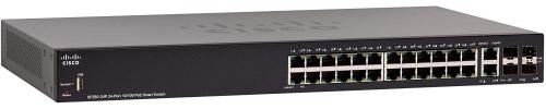 Switch Cisco Fast Ethernet SF250-24P, 24 Puertos 10/100Mbps + 2 Puertos SFP, 12.8 Gbit/s, 8000 Entradas - Gestionado