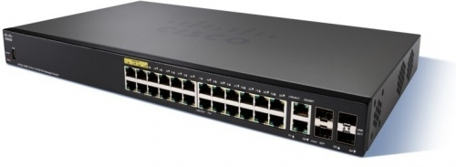 Switch Cisco Fast Ethernet SF350-24MP, 24 Puertos 10/100Mbps + 2 Puertos SFP, 12.8 Gbit/s, 16384 Entradas  - Gestionado