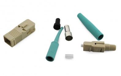 CommScope Conector Fibra Óptica SC, Aqua/Beige, 10 Piezas
