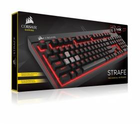 Teclado Gamer Corsair Strafe LED Rojo, Teclado Mecánico, Cherry MX Red, Alámbrico, Negro/Rojo (Español)