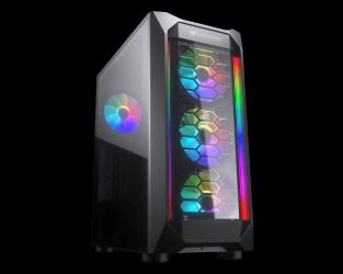 Gabinete Cougar MX410-G RGB, Midi Tower, ATX/Micro-ATX/Mini-ITX, USB 3.2, sin Fuente, Negro
