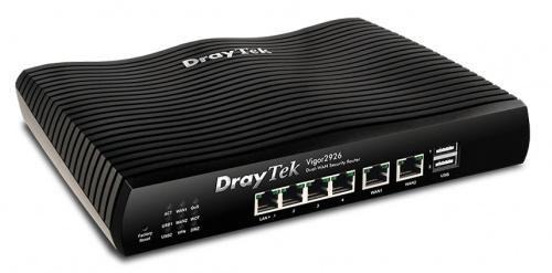 Router Draytek Gigabit Ethernet con Firewall Vigor2926, Alámbrico, 4x RJ-45, 2x USB 2.0, Negro