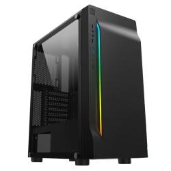 Gabinete Eagle Warrior Mission con Ventana RGB, Tower, ATX/Micro-ATX, USB 2.0/3.0, sin Fuente, Negro