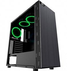 Gabinete Eagle Warrior Robot M con Ventana LED Verde, Tower, ATX/Micro-ATX, USB 2.0/3.0, sin Fuente, Negro