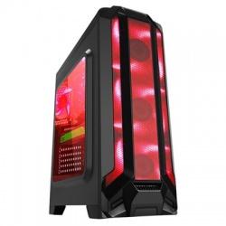 Gabinete Eagle Warrior RobotQ con Ventana LED Rojo, Tower, ATX/Micro-ATX, USB 2.0/3.0, sin Fuente, Negro