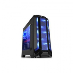 Gabinete Eagle Warrior RobotQ con Ventana LED Azul, Tower, ATX/Micro-ATX, USB 2.0/3.0, sin Fuente, Negro