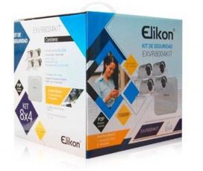 Elikon Kit de Vigilancia EXVR8004KIT de 4 Cámaras Bullet y 8 Canales, con Grabadora DVR