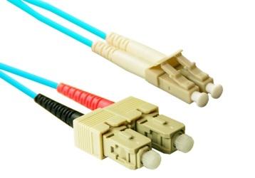 Enet Cable Fibra Óptica Dúplex Multimodo OM3 SC Macho - LC Macho, 50/125, 7 Metros, Aqua
