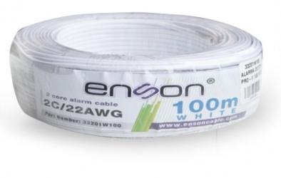 Enson Bobina de Cable Alarma 33201W100 2C/22W PRO-II, 100 Metros, Blanco