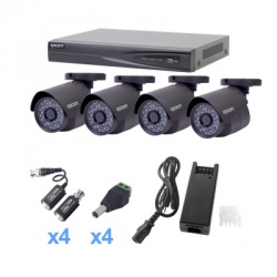 Epcom Kit de Vigilancia KEVTX8T4B de 4 Cámaras Bullet , 4 Canales, Alámbrico, con Grabadora (no Incluye Disco)