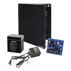 Epcom Kit Fuente de Poder para Cámara CCTV RT1640SMP3PL4, Entrada 24V, Salida 12V, 2.5A — Incluye Batería, Gabinete, Transformador y Soportes