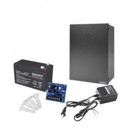 Epcom Kit Fuente de Poder para Cámara CCTV RT1640SMP3PL7, Entrada 24V, Salida 12V, 2.5A — Incluye Batería, Gabinete, Transformador y Soportes