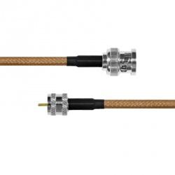 Epcom Cable Coaxial BNC Macho - Mini UHF Macho, 30cm, Negro/Marrón