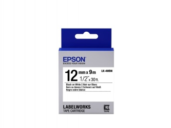 Cinta Epson LK-4WBN Negro sobre Blanco, 12mm x 9m