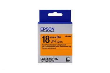 Cinta Epson LabelWorks Fluorescent LK, Negro sobre Naranja, 9 Metros