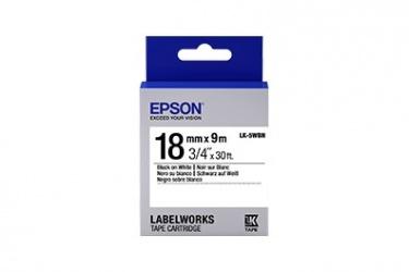Cinta Epson LabelWorks Standard LK, Negro sobre Blanco, 18mm x 9m