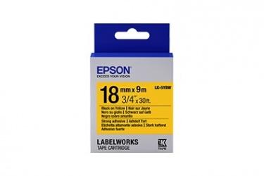 Cinta Epson LK-5YBW Negro Sobre Amarillo, 1.8cm x 9m