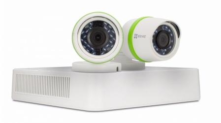 Ezviz Kit de Vigilancia de 2 Cámaras CCTV Bullet y 4 Canales, con Grabadora