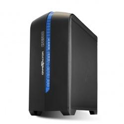 Gabinete Game Factor CSG500 con Ventana LED, Micro-Tower, Micro-ATX/Mini-ITX, USB 2.0/3.0, sin Fuente, Negro/Azul