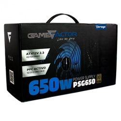 Fuente de Poder Game Factor PSG650 80 PLUS Bronze, 20+4 pin ATX, 120mm, 650W, Negro