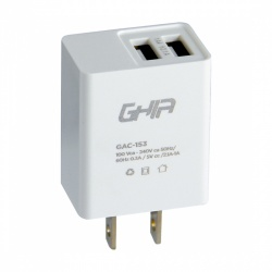 Ghia Cargador de Pared GAC-153, 2 Puertos USB 2.0, Blanco