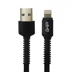 Ghia Cable de Carga USB A Macho - Lightning Macho, 1 Metro, Negro, para iPhone/iPad
