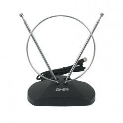 Ghia Antena para Televisión GANT-004 para Interiores, FM/UHF/VHF, Negro