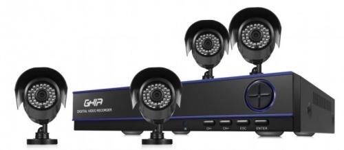 Ghia Kit de Vigilancia Horus de 4 Cámaras y 4 Canales, con Grabadora DVR