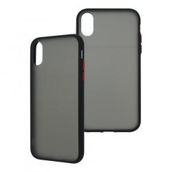 Ghia Funda con Mica AC-8935 para iPhone XR, Negro/Semitransparente