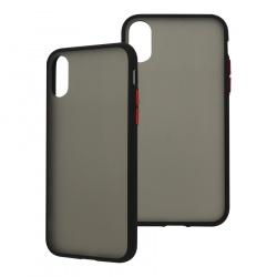 Ghia Funda con Mica AC-9038 para iPhone XS Max, Negro/Semitransparente