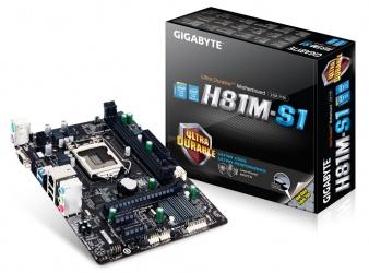 Tarjeta Madre Gigabyte micro ATX GA-H81M-S1, S-1150, Intel H81 Express, USB 2.0/3.0, 16GB DDR3, para Intel