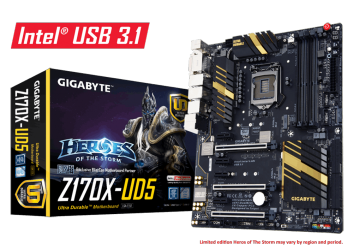 Tarjeta Madre Gigabyte ATX 1151 Z170X-UD5, S-1151, Intel Z170, HDMI, 64GB DDR4, para Intel ― Requiere Actualización de BIOS para trabajar con Procesadores de 7ma Generación