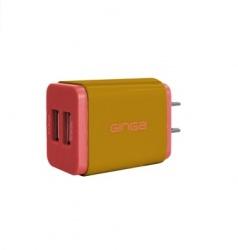 Ginga POP Cubo Cargador Duo, 2.1A, 2x USB 2.0, Rosa/Dorado