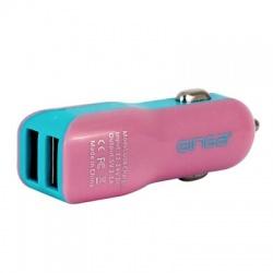 Ginga Cargador de Auto Spring, 12V, 2x USB 2.0, Morado/Verde