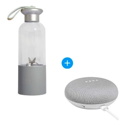 Google Home Mini Asistente de Voz, Inalámbrico, WiFi, Bluetooth, Gris ― Incluye Licuadora Portátil USB RST1025