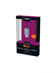 Grixx Adaptador Micro USB Macho - USB-C Hembra, Gris