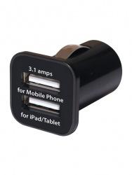 Grixx Cargador para Auto GROCCHDUSB01, 2x USB, Negro