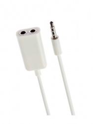 "Grix Cable Divisor en ""Y"" 2x 3.5mm Hembra - 3.5mm Macho, 20cm, Blanco"
