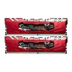 Kit Memoria RAM G.Skill Flare X DDR4, 2400MHz, 16GB (2 x 8GB), Non-ECC, CL16, XMP, Rojo