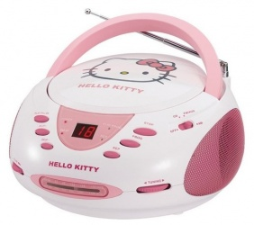 Hello Kitty Grabadora con Reproductor de CD KT2024A, AM/FM, Rosa/Blanco