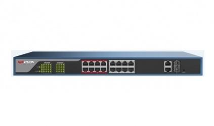 Switch Hikvision Fast Ethernet DS-3E1318P-E, 16 Puertos 10/100 + 2 Puertos SFP, 7.2 Gbit/s, 4096 Entradas - Gestionado