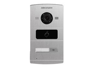 Hikvision Frente de Calle IP DS-KV8102-IM, Lector de Tarjetas, Altavoz, Aluminio - Solo Compatible con PoE DS-KAD606N