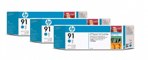 Cartucho HP 91 Paquete Triple Cyan 775ml