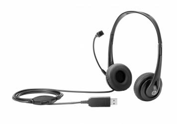 HP Audífonos con Micrófono T1A67AA, Alámbrico, USB, Negro