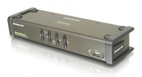 Iogear Switch KVM MiniView, 4 Puertos USB/VGA