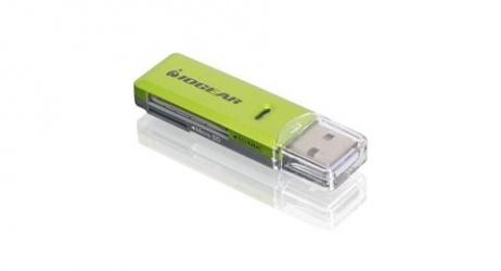 Iogear Lector de Memoria GFR204SD, microSD/SD/SDHC/SDXC, USB 2.0, Verde