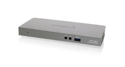 Iogear Docking Station GUD3C01 USB-C, 2x USB-C, 1x HDMI/1x DisplayPort/1x RJ-45, Plata