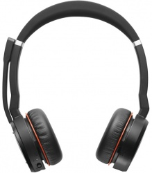 Jabra Audífonos con Micrófono Evolve 75 MS Stereo, Inalámbrico, Bluetooth, USB, Negro/Rojo