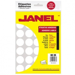 Janel Etiqueta No.12, 700 Etiquetas de Diámetro 1/4'', Blanco